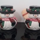 Vintage Snowman & Woman Salt and Pepper Shakers     (1120)