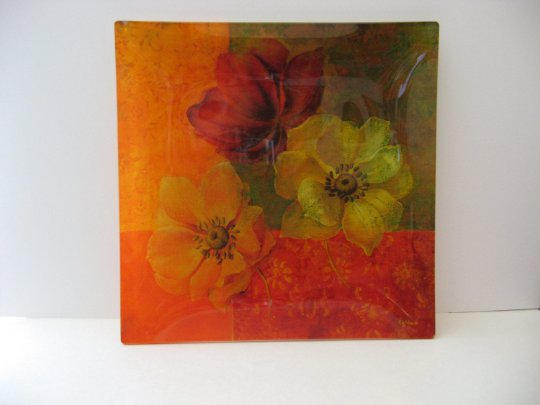 Large 14x14 Decorative Glass Tray -  Beautiful Floral Design