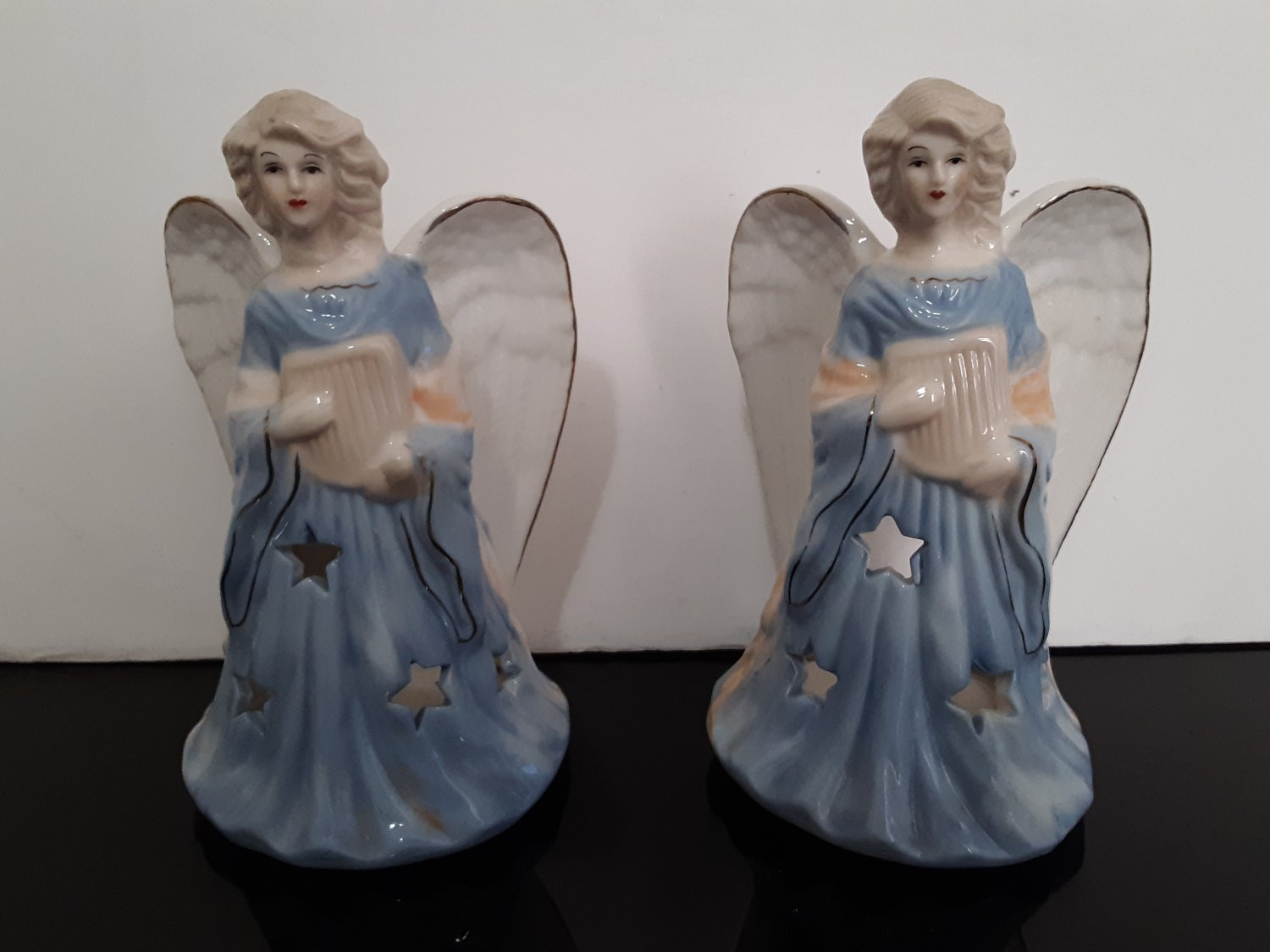 "2 - Vintage  ""Angel""  Ceramic Candle Holder's"