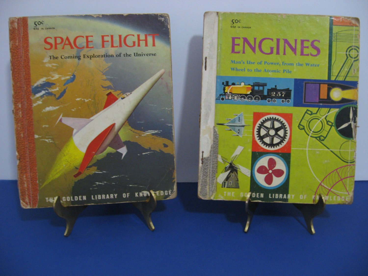 """Vintage 1959 - 2 - Golden Library Of Knowledge Books  - """"Space Flight"""" and """"Engines"""""""