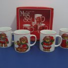 New Old Stock - 1970's Christmas Bears - Set of 4 Fine Porcelain  Mugs - Made in Japan