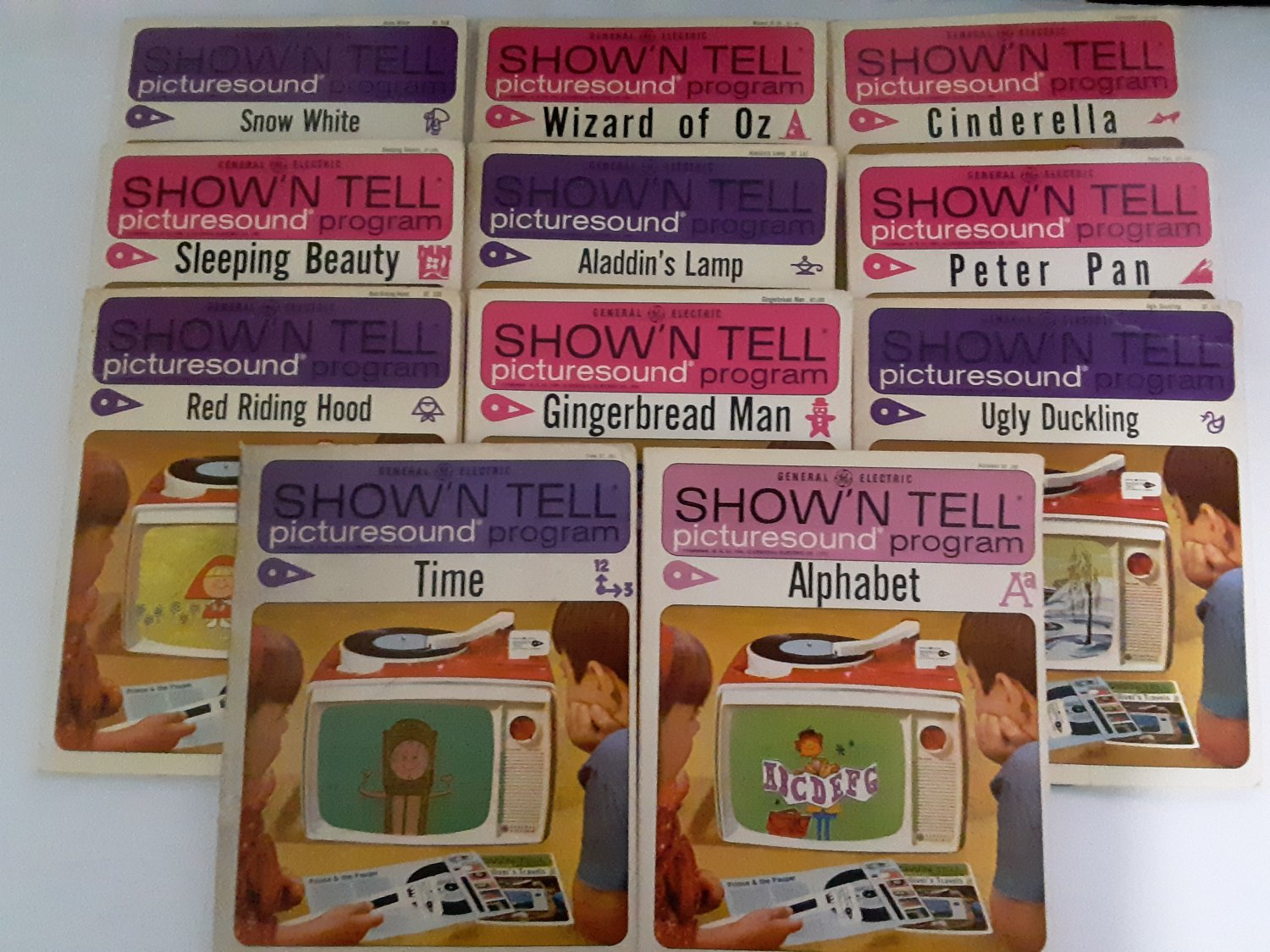 "Vintage 1964 - Lot of 11 - General Electric ""Show'n Tell"" Picturesound Program Records and Slides!"