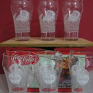 6 Coca-Cola Frosted Santa Claus Design Glasses