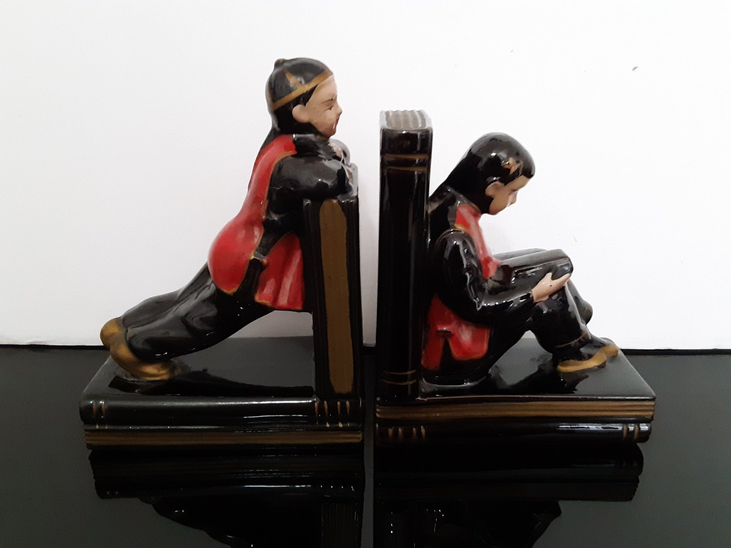 Vintage Asian Boy And Girl Ceramic Bookends Redware Enesco - Japan