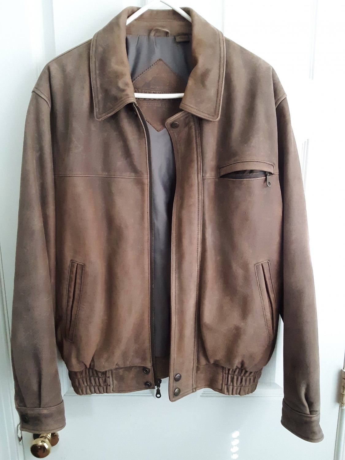 Brown Leather Jacket - Outfitters - Medium