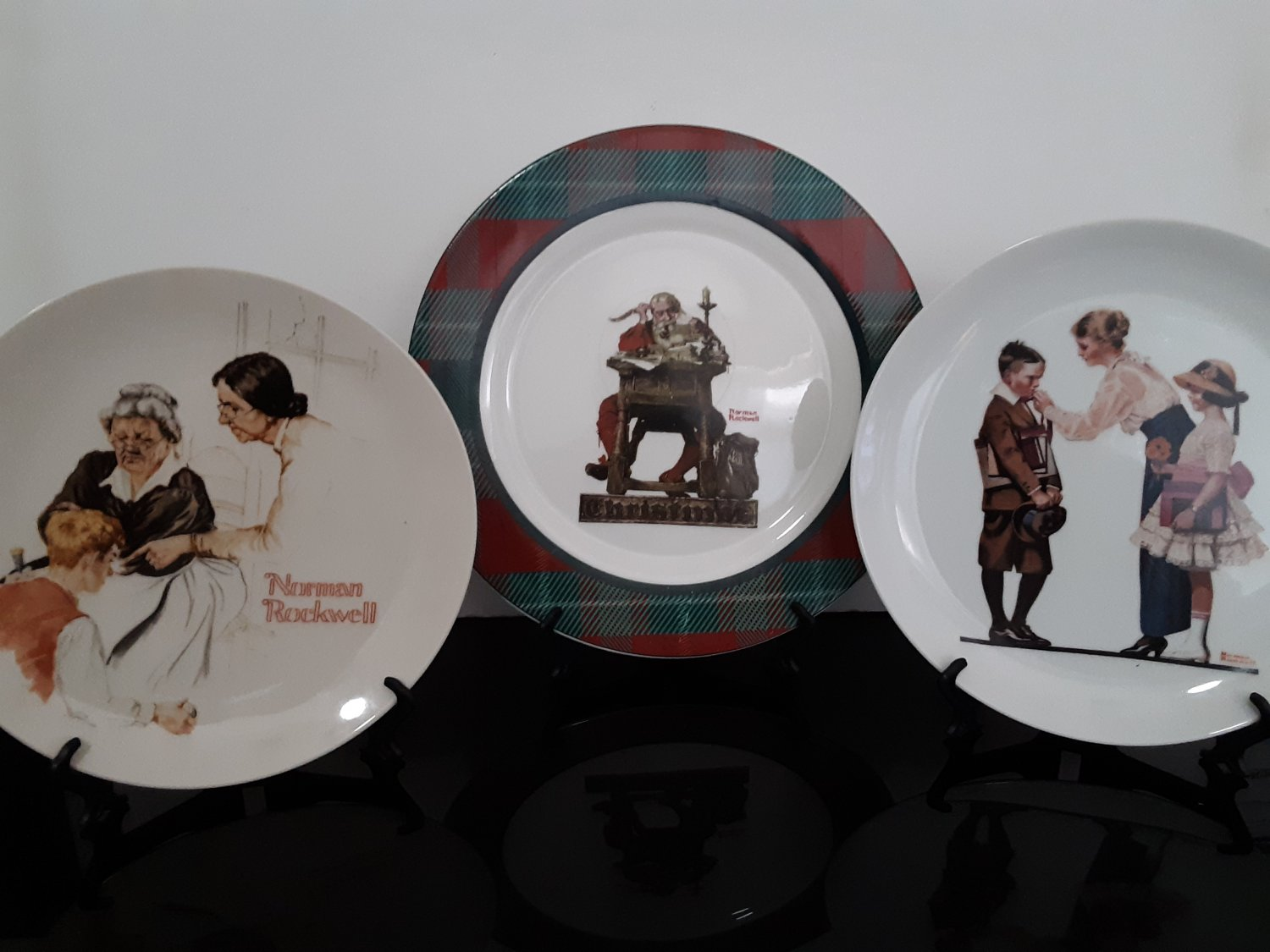 """3 - Norman Rockwell Collectible Plate's -  """"Santa Reading Mail"""""""