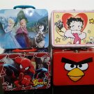 4 - Metal Lunch Boxes - Betty Boop - Frozen - Spiderman - Angry Birds
