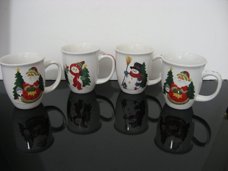 4 - Santa & Snowmen Christmas Coffee Mugs