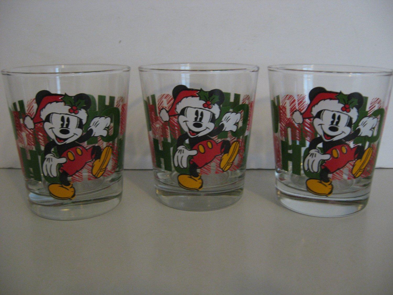 3 - Mickey Mouse  HO HO HO -  Drink/Juice Glasses