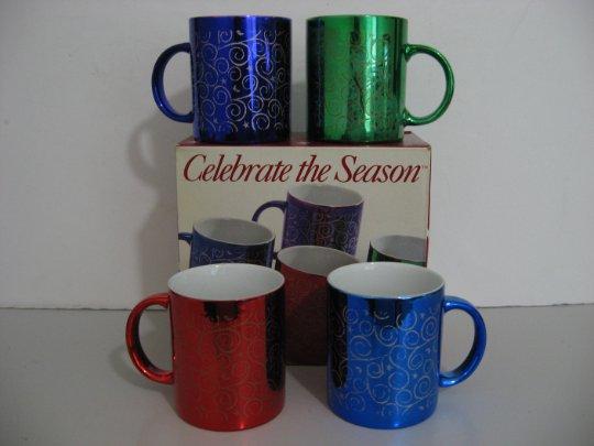 New Old Stock - Vintage 1997 - Set of 4 Holiday Metallic Mugs