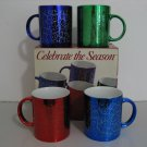 New Old Stock - Vintage 1997 - Set of 4 Holiday Metallic Mugs