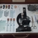 Vintage 1960's Monolux Zoom Microscope Kit 900x with Wood Carry Case! Made in Japan