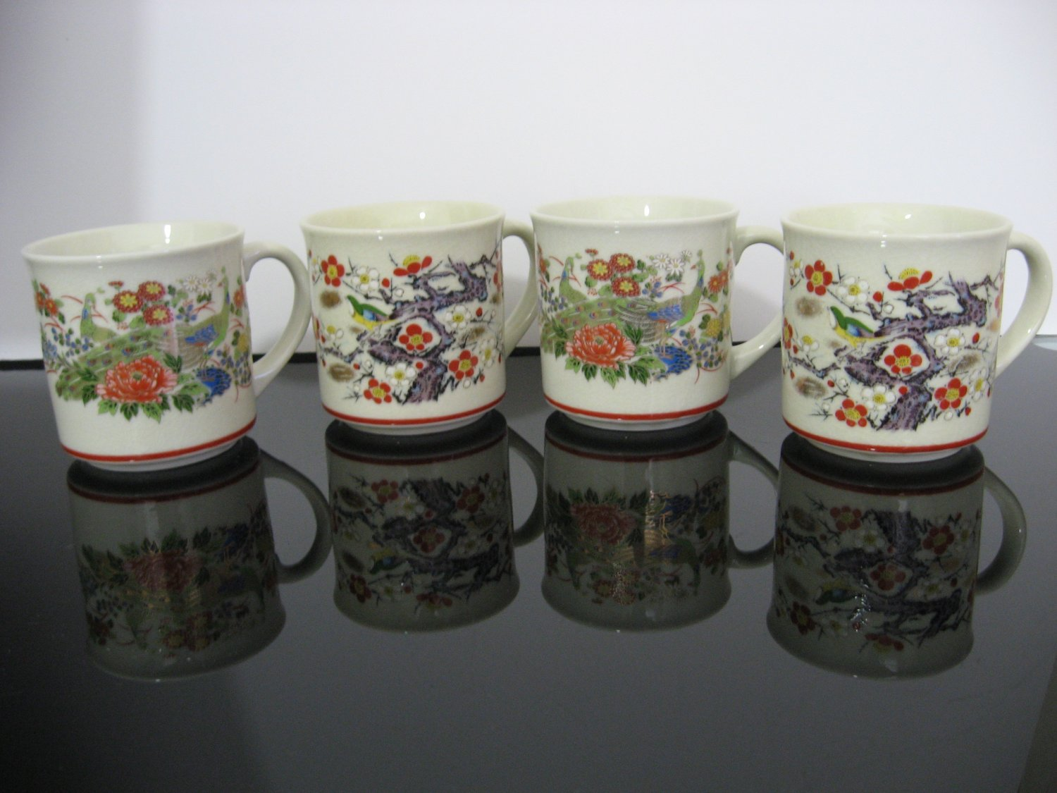 4 Pottery Cups, Mugs - Peacocks, Birds, Flowers Oriental Asian Pottery - Made in Japan
