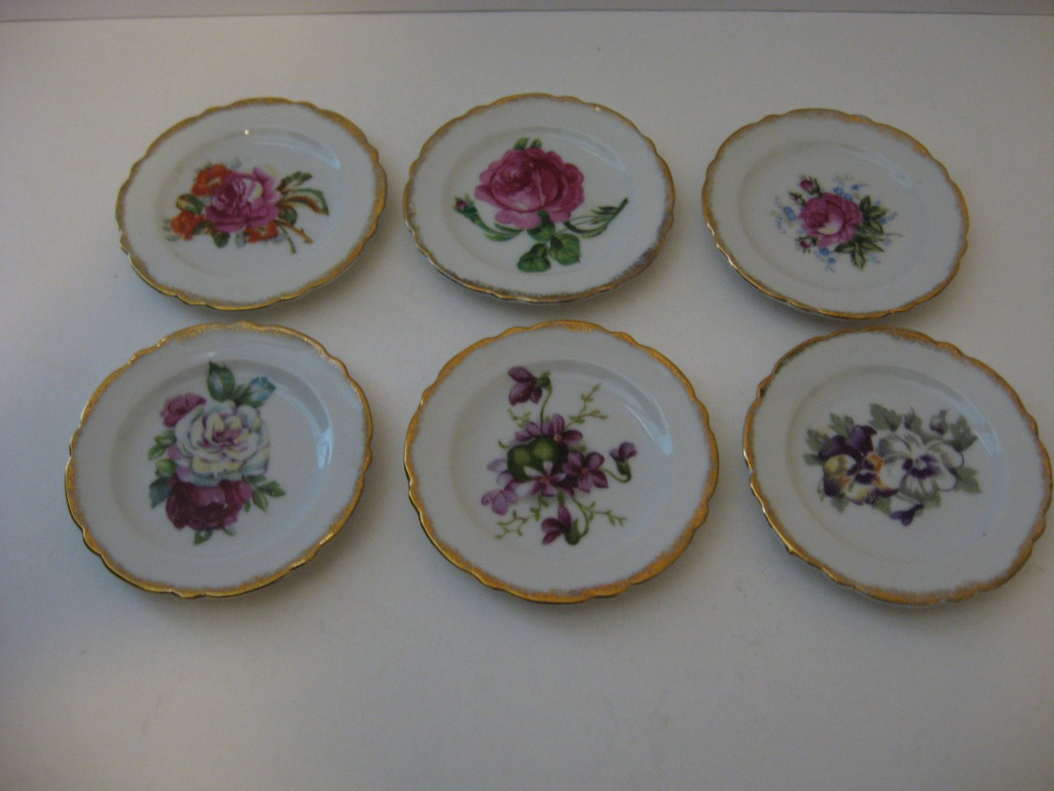 6  - Vintage Chase hand-painted flowered butter plate set - Made in Japan