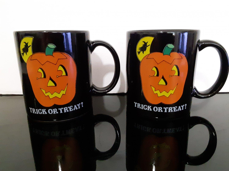 "2 - Vintage 1989 ""Trick or Treat"" Mugs"