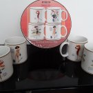 NEW - Sakura Glamour Girl Mugs - Set of 4 Mugs in Box