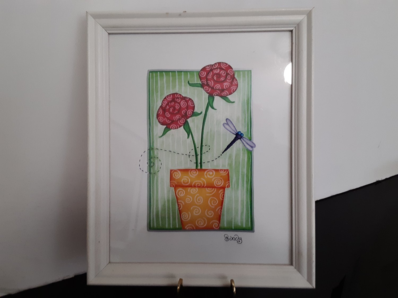 Sandy Design - Dragonfly & Flowers Wood Framed Picture