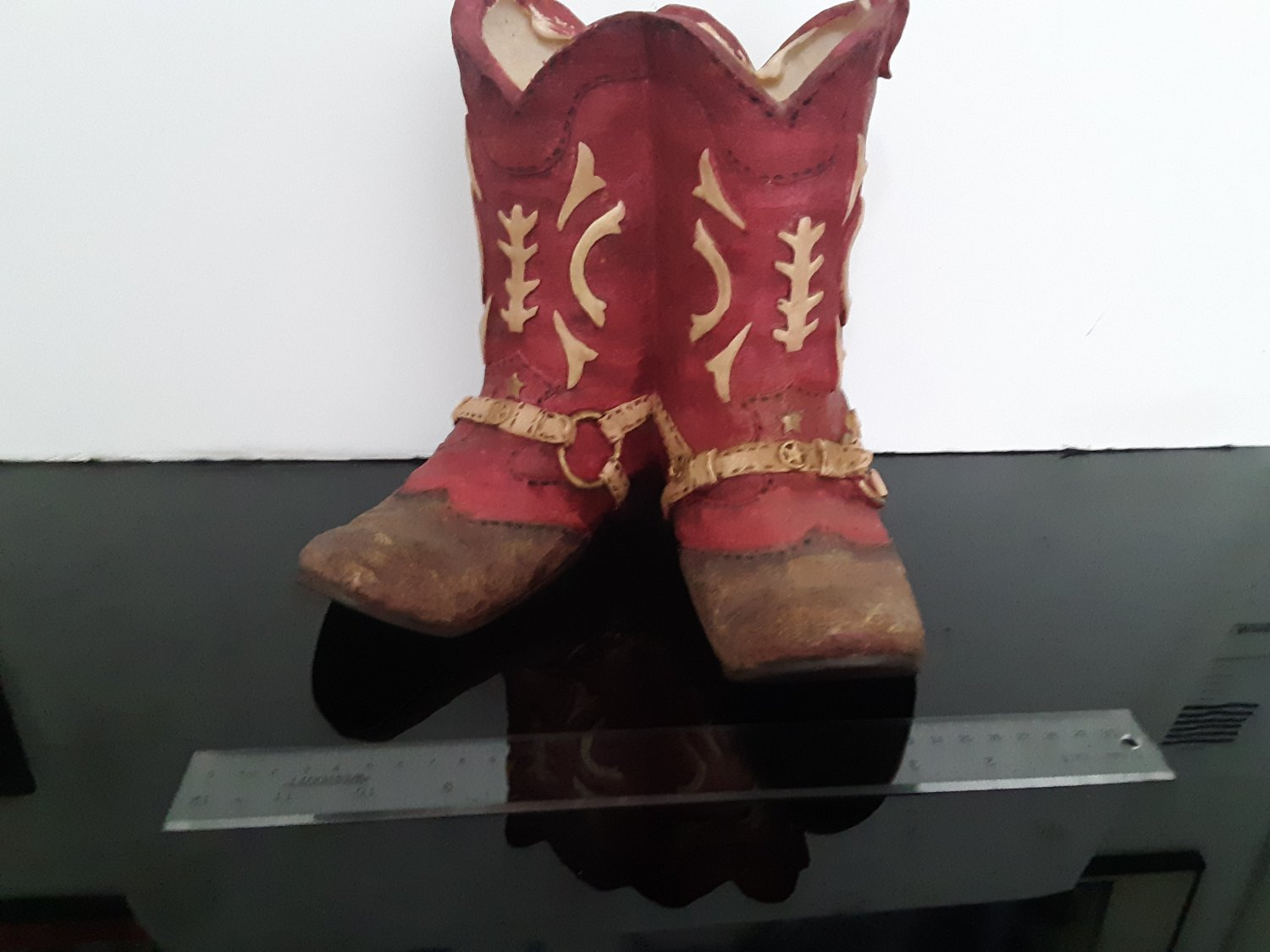 Vintage - Red & Gold Cowboy Boots -  Planter