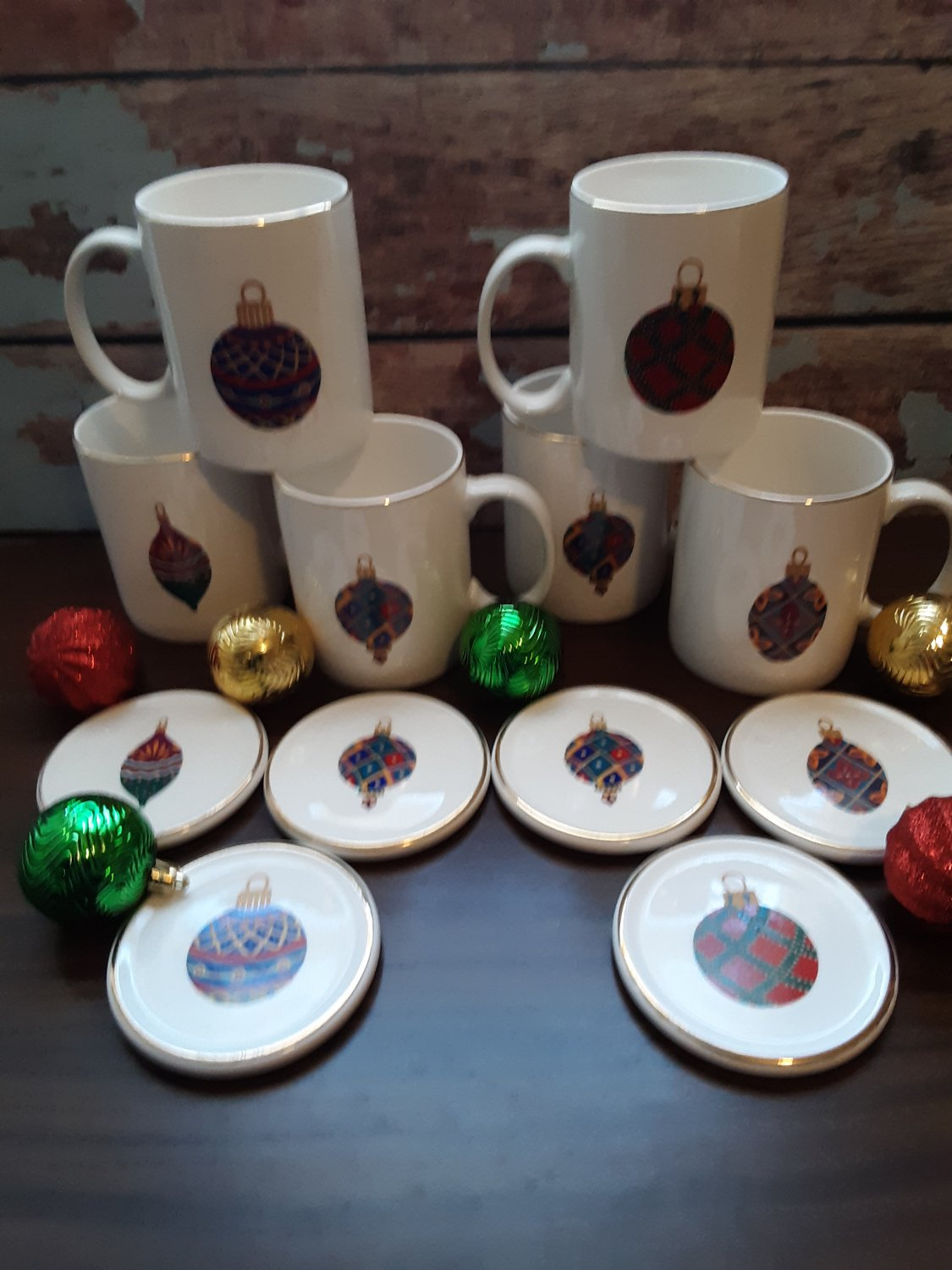 """6 Mugs & 6 Coasters - Fantastic  """"Christmas Ornament"""" Design by Gibson!"""