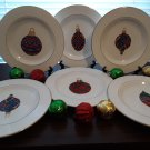 "6 Gibson 9"" Dessert Plates - Christmas Ornament Design!"