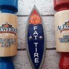 3 Beer Keg Tap Handles - Metal Fat Tire Brand and Alewerks Brand Red - Blue Handles