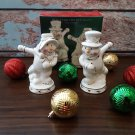 Vintage 1999 New Old Stock!  Snowman and Snowlady Salt & Pepper Shakers!