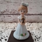"Vintage 1982   ""Age 2""  Enesco Growing Up Birthday Girls - Porcelain Figurine    (1661)"
