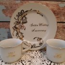 Golden Wedding Anniversary Plate & 2 Cups with Heart Handles   (1433)