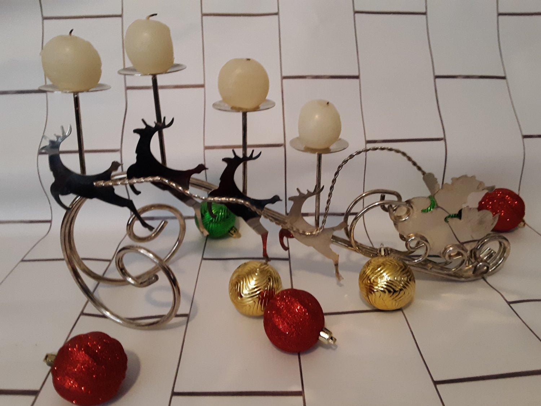 Santa Claus & Reindeer Chrome 4 Tier Candle Holder