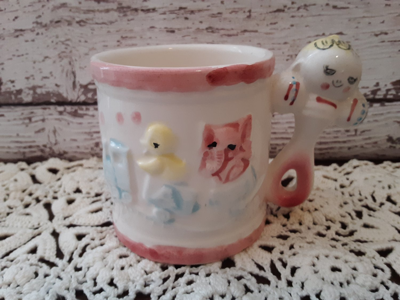 Vintage 1950's Rubens -  Baby Rattle Handle Mug - Japan