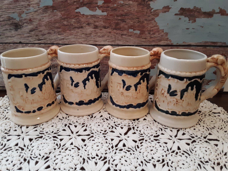 4 Porcelain Western Scene Steins With Dog Handle - Yamaka