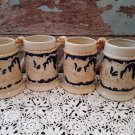 4 Porcelain Western Scene Steins With Dog Handle - Yamaka