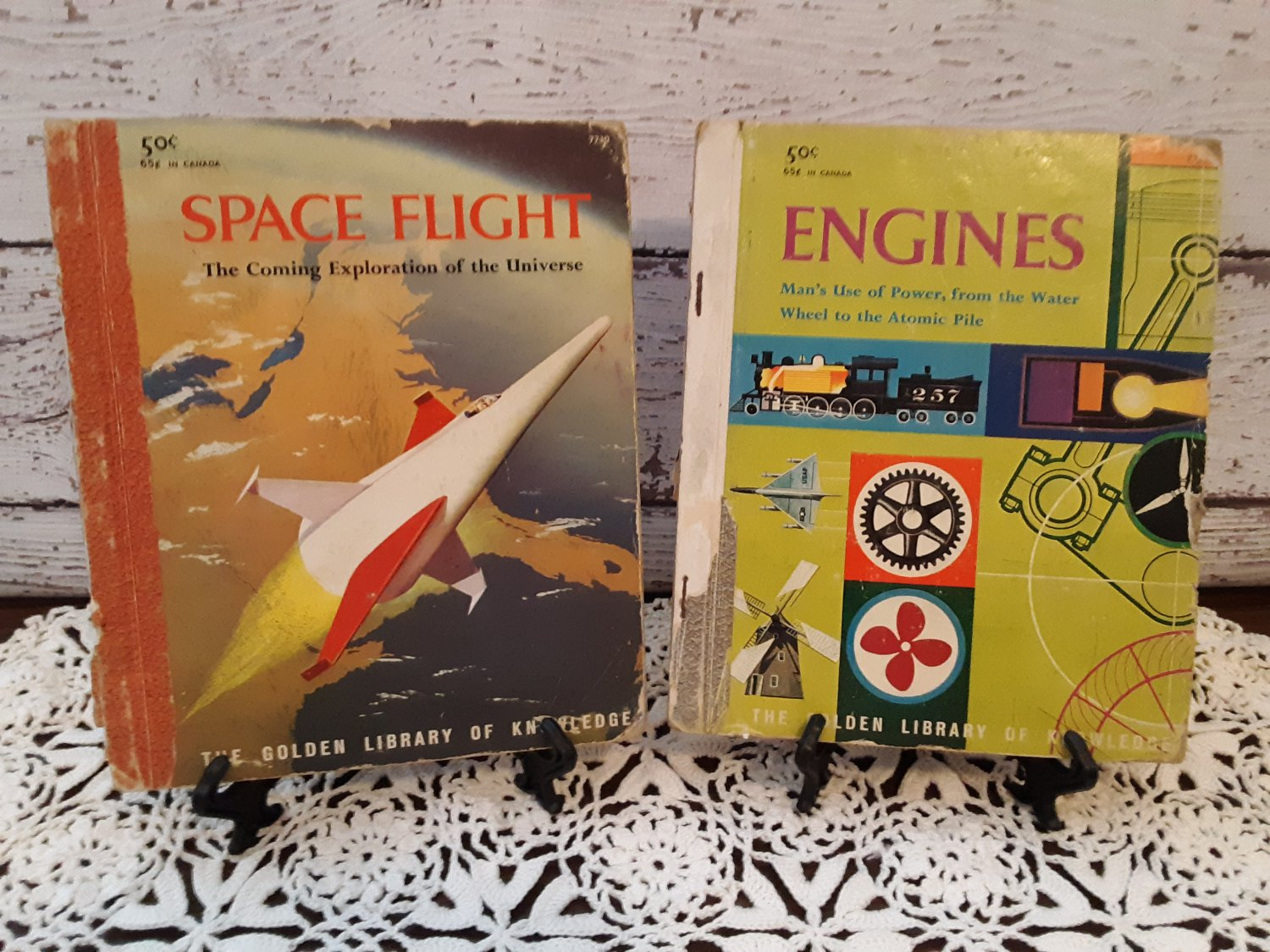 """Vintage 1959 - Golden Library Of Knowledge Books  - """"Space Flight"""" and """"Engines"""""""