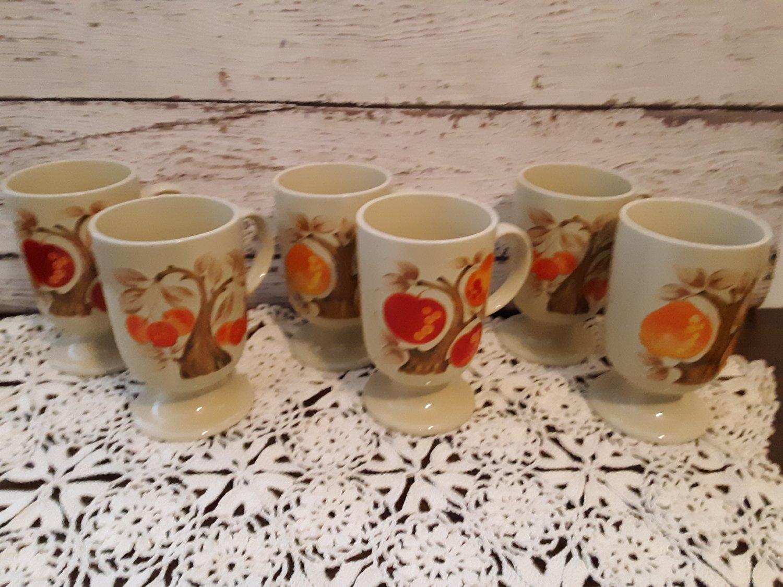 Retro 1960's - 6 Pedestal Mugs -  Peaches,  Apples, Cherries - Pop Art Design!