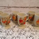 Retro 1960's - 6 Pedestal Mugs -  Peaches,  Apples, Cherries - Pop Art Design!