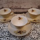 3 Cups and Saucer Sets - Vintage Taylor & Smith  Leaf O'Gold Design