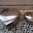 2 Chrome/Silver Heart Shaped Trinket Boxes