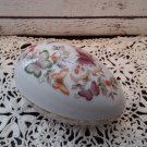 Large Porcelain Butterflies Egg Shaped Trinket Box by Avon - Circa 1974