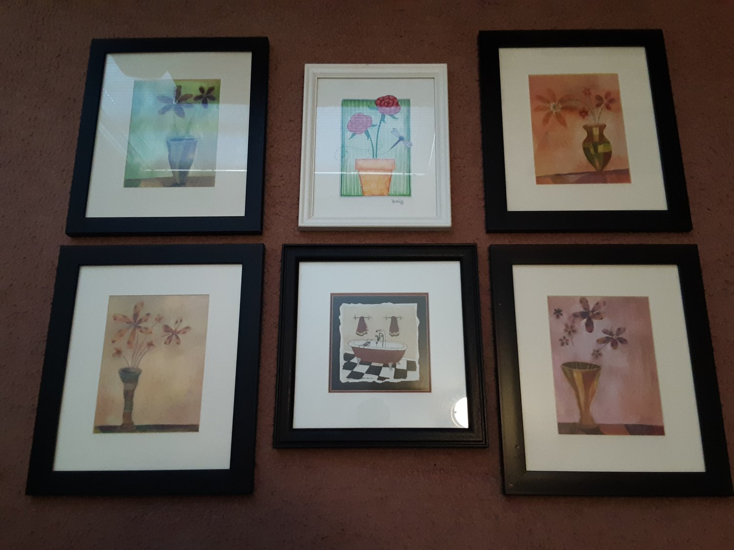 Bundle of 6 Wood Framed and Matted Pictures - Home Decor!