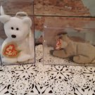 2 - Retired Beanie Babies Rare Errors!  - Halo the Bear & Goatee The Goat