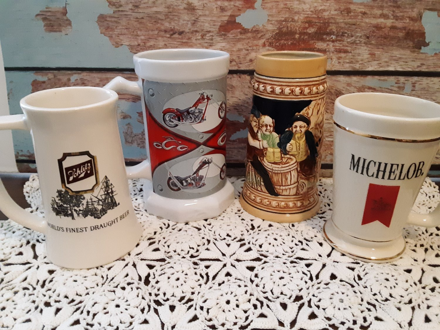 4 Vintage Beer Stein Collection