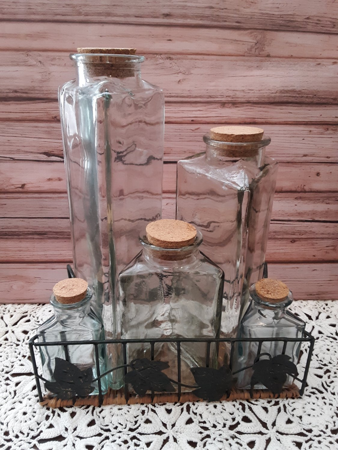5 Piece Glass Condiment Set With Tray
