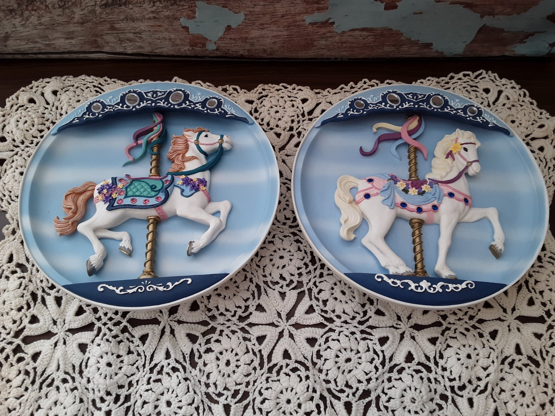 2 - 1992 Musical Plates - Carousel Horse ''Joyful Jumper'' & ''Sweet Stander''