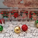 "Vintage Set of 4 ""Holly & Ivy"" Christmas Tumblers"