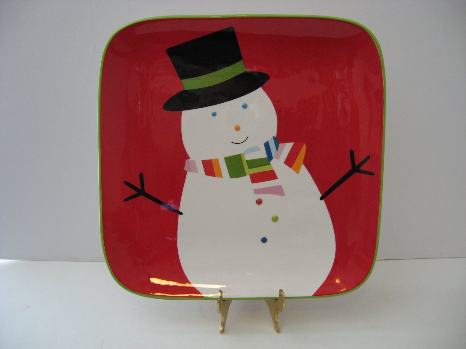 """Vintage 10.5"""" Snowman Holiday Plate"""