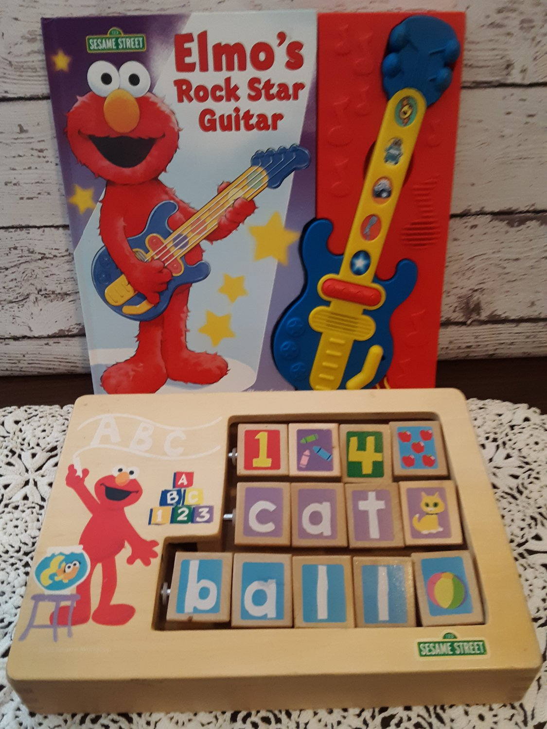 Sesame Street - Elmo's Rock Star Guitar & All Wood Interactive Toy!