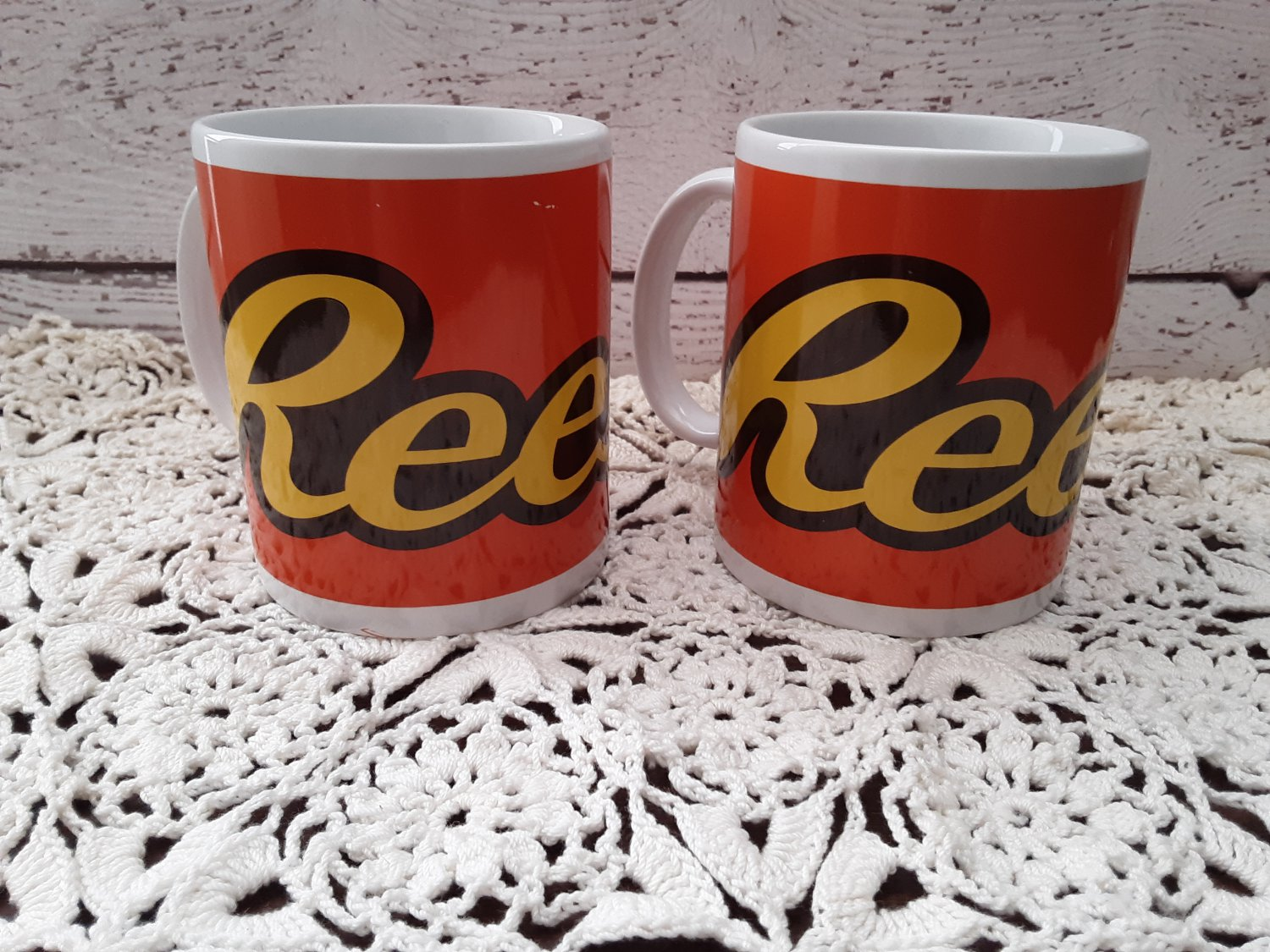 2 Vintage Hershey's Reese's Bright Colorful Coffee Mugs