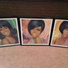 The Supremes - 3 Framed Full Color Portraits - Circa 1967