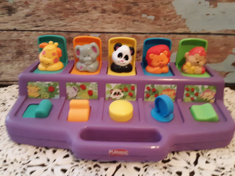 Vintage 1995 Purple - PLAYSKOOL Busy Basics Poppin Pals Pop Up Safari Zoo Jungle Animals