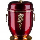 Beautiful Red Metal Cremation Urn with Gold Cross Funeral Urn For Ashes (UMK1)